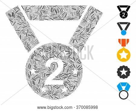 Dash Mosaic Based On Medal Second Icon. Mosaic Vector Medal Second Is Composed With Random Dash Elem