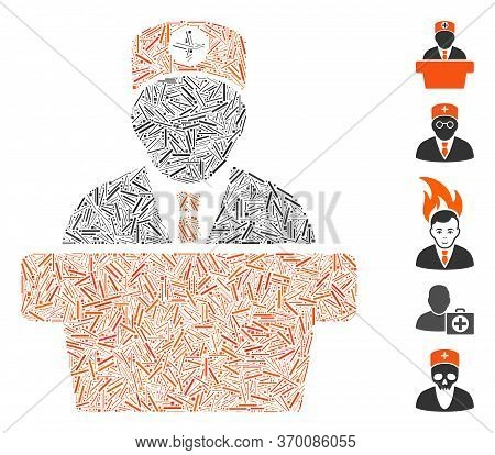 Hatch Mosaic Based On Medical Official Lecture Icon. Mosaic Vector Medical Official Lecture Is Desig