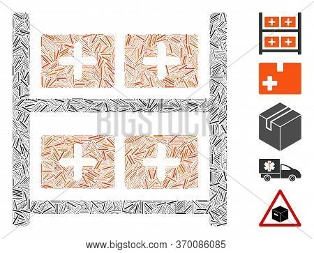 Dash Mosaic Based On Medical Warehouse Icon. Mosaic Vector Medical Warehouse Is Formed With Random D