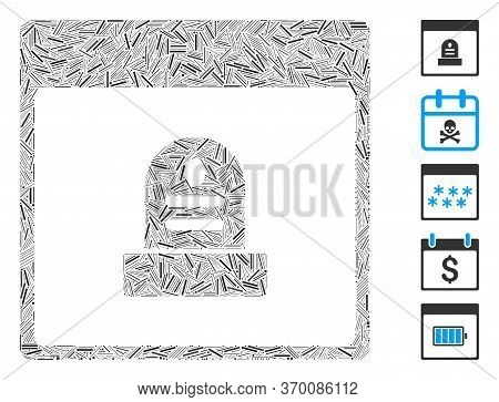 Dash Mosaic Based On Memorial Tombstone Calendar Page Icon. Mosaic Vector Memorial Tombstone Calenda
