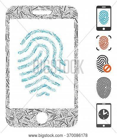 Hatch Mosaic Based On Mobile Fingerprint Authorization Icon. Mosaic Vector Mobile Fingerprint Author