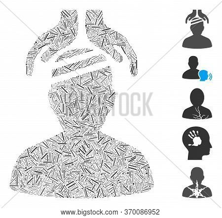 Dash Mosaic Based On Psychiatry Patient Cure Hands Icon. Mosaic Vector Psychiatry Patient Cure Hands