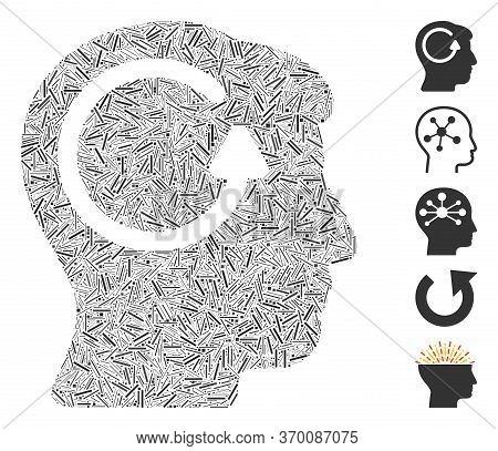 Line Mosaic Based On Refresh Head Memory Icon. Mosaic Vector Refresh Head Memory Is Created With Ran