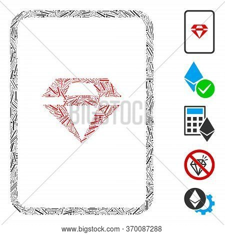 Hatch Mosaic Based On Ruby Gambling Card Icon. Mosaic Vector Ruby Gambling Card Is Created With Rand