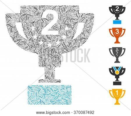Hatch Mosaic Based On Second Prize Cup Icon. Mosaic Vector Second Prize Cup Is Composed With Randomi