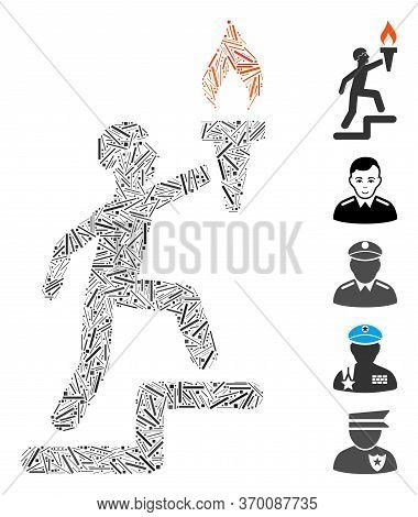 Hatch Mosaic Based On Soldier Climbing With Torch Icon. Mosaic Vector Soldier Climbing With Torch Is