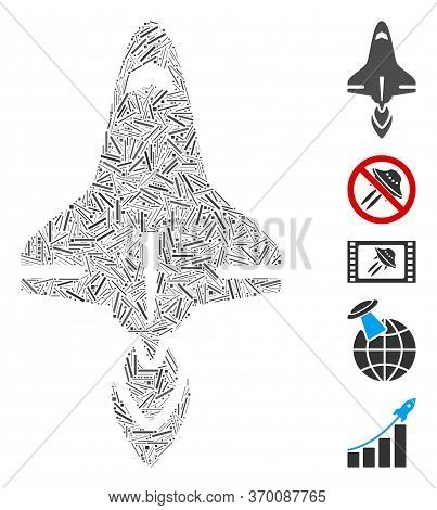 Hatch Mosaic Based On Space Shuttle Icon. Mosaic Vector Space Shuttle Is Created With Scattered Dash