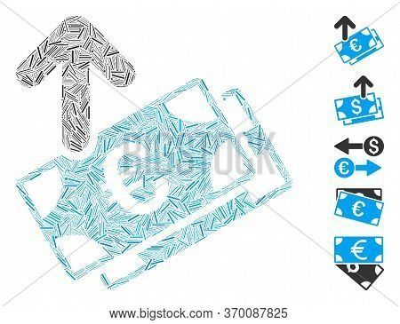 Hatch Mosaic Based On Spend Euro Banknotes Icon. Mosaic Vector Spend Euro Banknotes Is Composed With