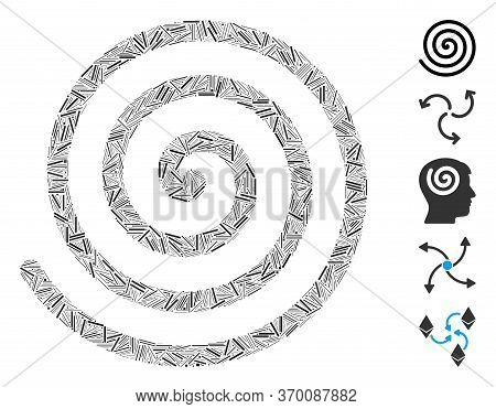 Hatch Collage Based On Spiral Icon. Mosaic Vector Spiral Is Created With Scattered Hatch Items. Bonu