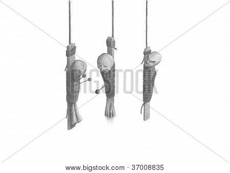 Three Hanging Voodoo Dolls
