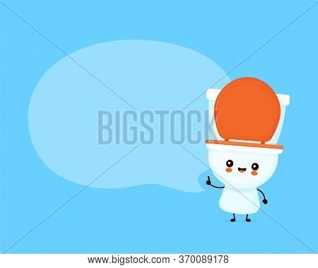 Cute Happy Smiling Toilet Bowl With Speech Bubble. Vector Flat Cartoon Character Illustration Icon D