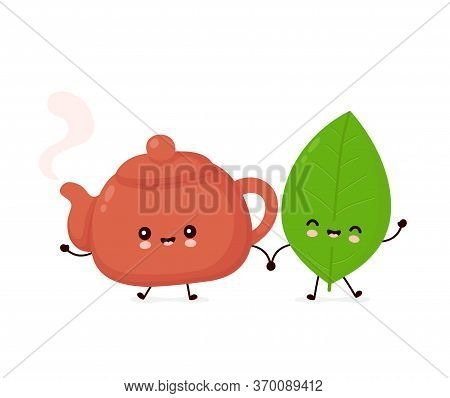Cute Happy Smiling Teapot And Tea Leaf. Vector Flat Cartoon Character Illustration Icon Design.isola