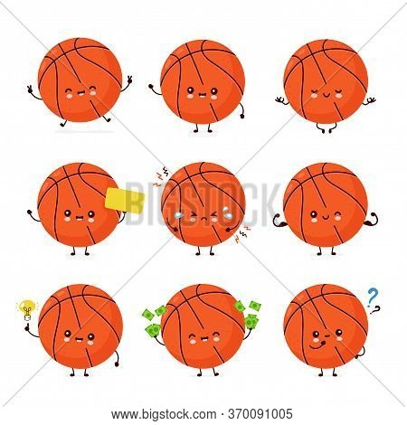Cute Happy Smiling Basketball Ball Set Collection. Vector Flat Cartoon Character Illustration Icon D