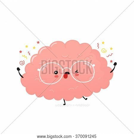 Cute Crazy Human Brain. Vector Cartoon Character Illustration Icon Design.isolated On White Backgrou