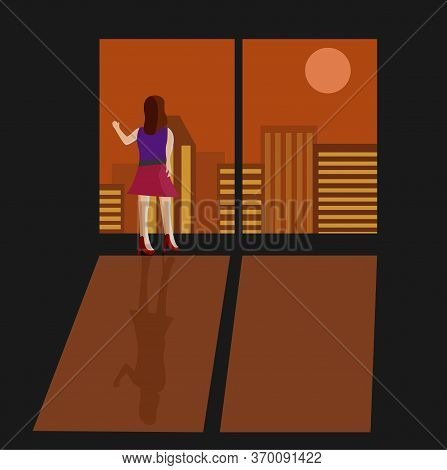 Illustration Vector Design Of A Woman Is Standing Front Of The Window And Looking At Dusk.