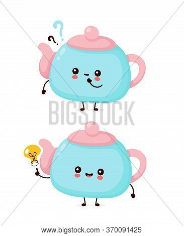 Cute Happy Smiling Teapot With Question Mark And Idea Lightbulb. Vector Flat Cartoon Character Illus