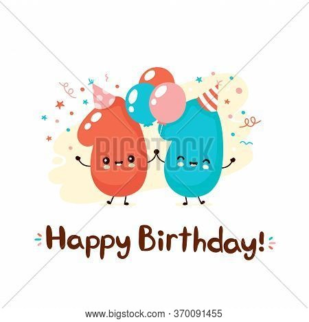 Cute Smiling Eleven Numbers With Balloons In Festive Hat. Happy Birthday 11 Year.vector Flat Cartoon
