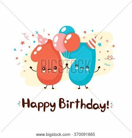 Cute Smiling Numbers Seventeen With Balloons In Festive Hat. Happy Birthday 17 Year.vector Flat Cart