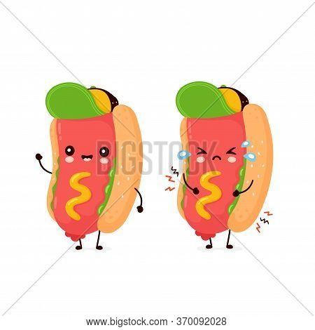 Cute Happy Smiling And Sad Hot Dog. Vector Flat Cartoon Character Illustration Icon Design.isolated