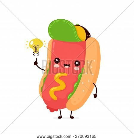 Cute Happy Smiling Hot Dog With Light Bulb. Vector Flat Cartoon Character Illustration Icon Design.i