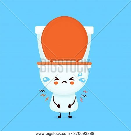 Cute Sad Cry Toilet Bowl. Vector Flat Cartoon Character Illustration Icon Design. Wc, Toilet Bowl Co