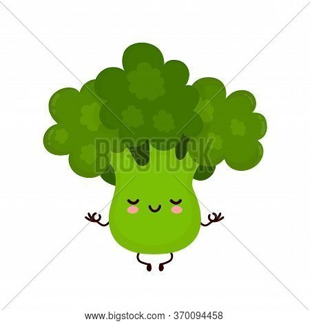 Cute Happy Smiling Broccoli Vegetable Meditate In Yoga Pose. Vector Flat Cartoon Character Illustrat