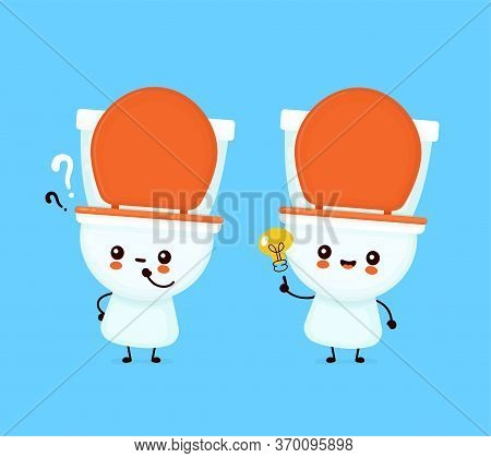 Cute Happy Smiling Toilet Bowl With Question Mark And Idea Lightbulb. Vector Flat Cartoon Character