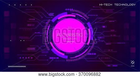Abstract Technology Background With Various Technological Elements. Hi Tech Digital Connect, Communi