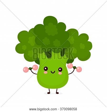 Cute Happy Smiling Broccoli Vegetable With Dumbells. Vector Flat Cartoon Character Illustration Icon