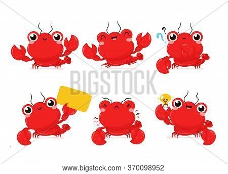 Cute Happy Smiling Lobster Set Collection. Vector Flat Cartoon Character Illustration Icon Design.is