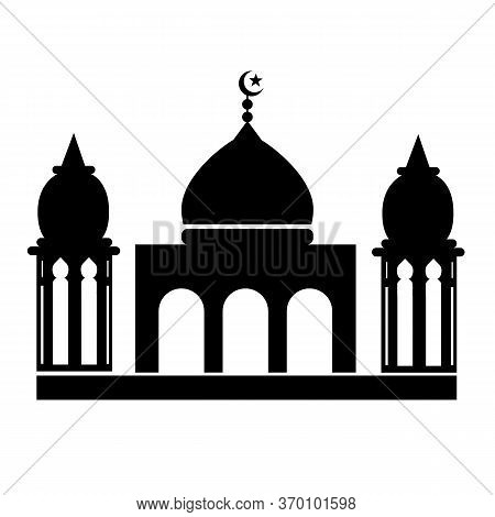 Mosque Icon On White Background. Flat Style.  Crescent Moon And Mosque Icon For Your Web Site Design