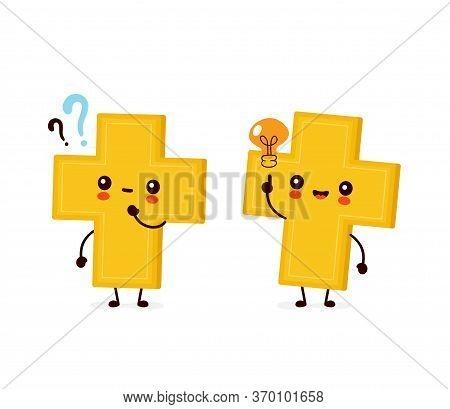 Cute Happy Smiling Christian Cross With Question Mark And Idea Lightbulb. Vector Flat Cartoon Charac