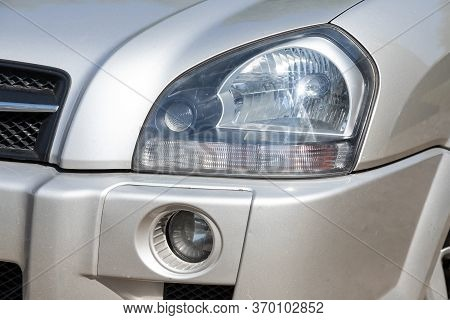 Novosibirsk/ Russia - May 12, 2020:  Hyundai Tucson, Exterior Detail . Close Up  Of Modern  Car Xeno