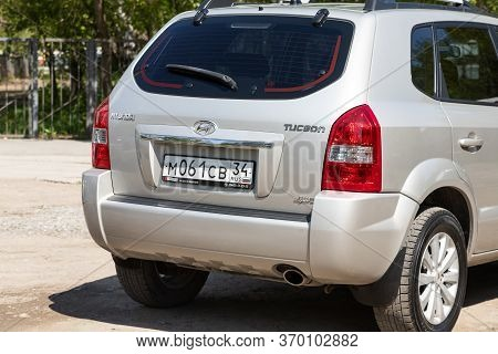 Novosibirsk/ Russia - May 12, 2020:  Beige Hyundai Tucson, Compact Universal  Car Parked Outdoors On