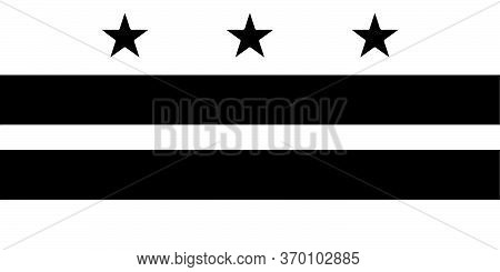 Flag Of Washington, D.c. District Of Columbia. Black And White Eps Vector File.