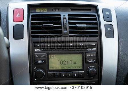 Novosibirsk/ Russia - May 12, 2020:  Hyundai Tucson, Audio Stereo System, Control Panel And Cd In A