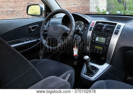 Novosibirsk/ Russia - May 12, 2020:  Hyundai Tucson, Dark Car Interior - Steering Wheel, Shift Lever