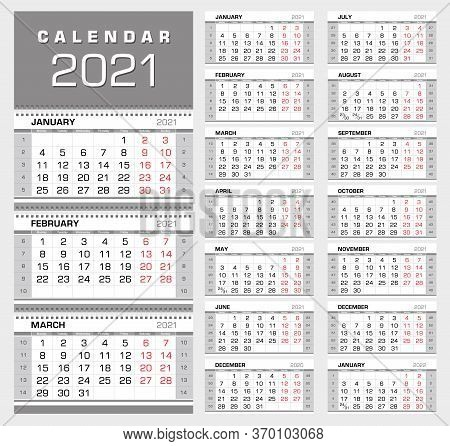 Wall Quarterly Calendar 2021 With Week Numbers. Week Start From Monday. Ready For Print, Color - Bla