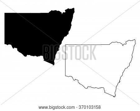 Map Of New South Wales Australia. Black And Outline Maps. Eps Vector File.