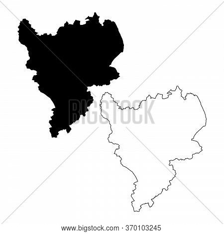 Map Of The East Midlands England. Black And Outline Maps. Eps Vector File.