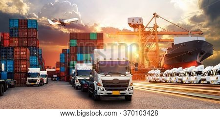 Logistics And Transportation Of Container Cargo Ship And Cargo Plane, Industrial Container Cargo Fre