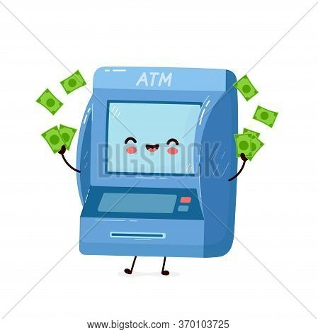 Cute Smiling Happy Atm With Money. Vector Flat Cartoon Character Illustration.isolated On White Back