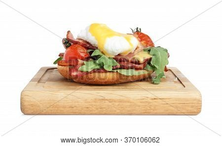 Fresh Delicious Egg Benedict Isolated On White