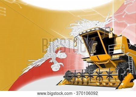 Agriculture Innovation Concept, Yellow Advanced Rye Combine Harvester On Bhutan Flag - Digital Indus