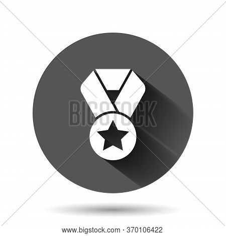 Medal Icon In Flat Style. Prize Sign Vector Illustration On Black Round Background With Long Shadow