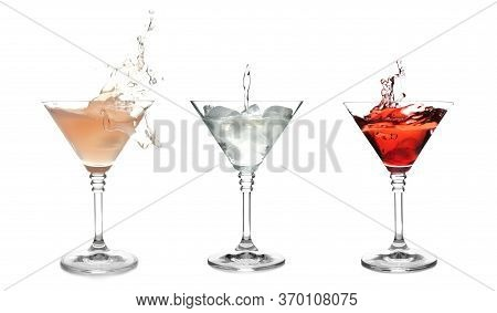 Set With Different Martini Cocktails On White Background
