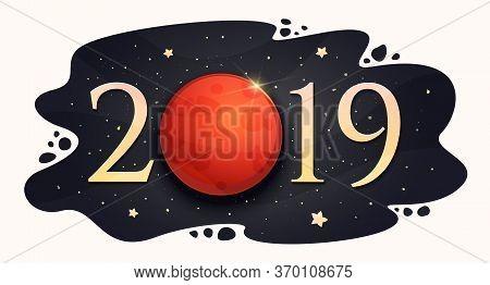 Lunar Eclipse 21 January 2019. Vector Illustration. Blood Moon.