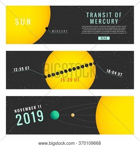 Transit Of Mercury 11 November 2019. Vector Illustration Part 2