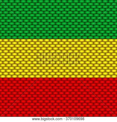 Rasta Seamless Pattern. Rastafarian Background Realistic. Vector Illustartion