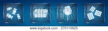 Set Candy, Chicken Nuggets In Box, Cotton Candy And Cracker Biscuit. Square Glass Panels. Vector